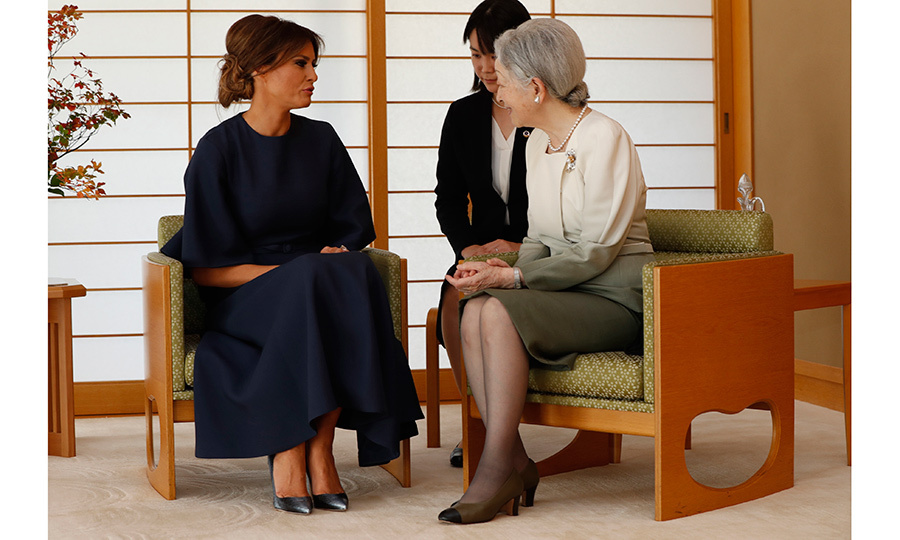 Melania was the picture of elegance as she arrived to the Imperial Palace in Tokyo to meet with Japan's Emperor Akihito and Empress Michiko. The first lady and President Donald Trump visited the royal residence on November 6.