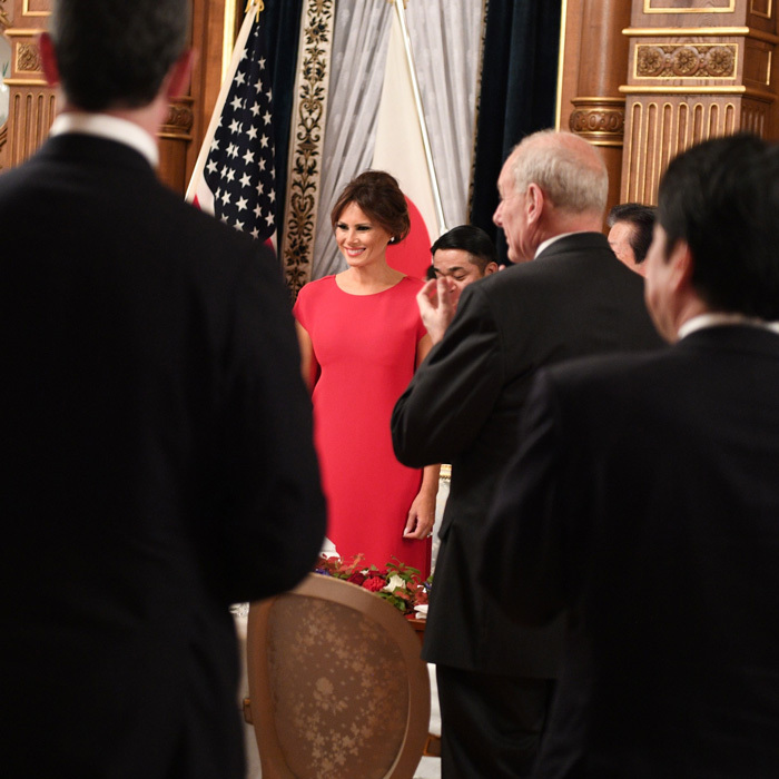 Melania was the lady in red at a state banquet on November 6. The first lady looked radiant wearing a dress by Valentino.