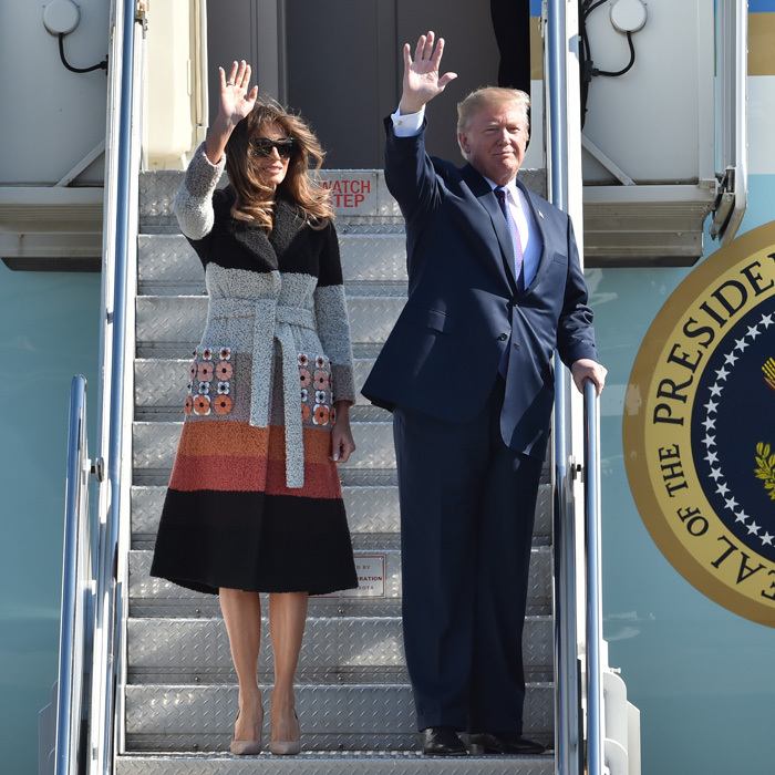 Donald and Melania kicked off the first leg of their tour arriving at Tokyo's Yokota Air Base on November 5. The first lady wowed in a $4,800 striped coat by Fendi that featured appliqué detailing. Following their arrival to the air base, the pair thanked members of the military for all that they do to protect the United States.