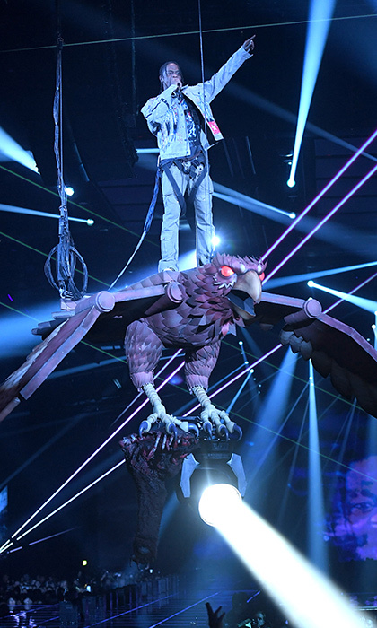 Travis Scott took flight on an automated eagle during his performance at the EMAs in London.