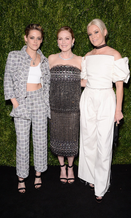 Kristen Stewart, in Chanel, and Elizabeth Banks, in Emanuel Ungaro, joined lady of the hour Julianne Moore, also in Chanel, at the Museum of Modern Art Film Benefit on November 13. 