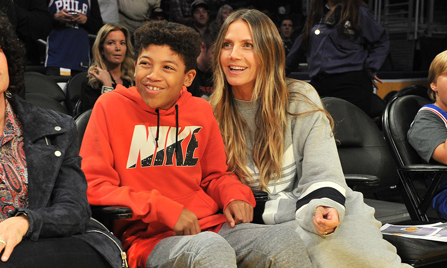 Supermodel and <i>Project Runway</I> star Heidi Klum was in cool mom mode as she took her son Johan – whose dad is Heidi's ex-husband Seal – to the Lakers vs 76ers match on November 15 in Los Angeles. 