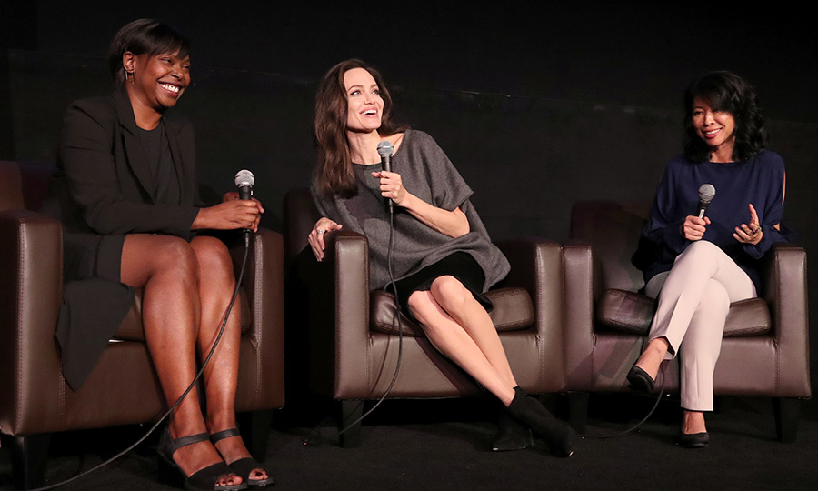 Angelina Jolie joined forces with AFI Fest director Jacqueline Lyanga, left, and human rights activist Loung Ung, right, at the 'On Collaborative Storytelling' panel during AFI FEST 2017 presented by Audi at the Egyptian Theatre in Hollywood on November 13.