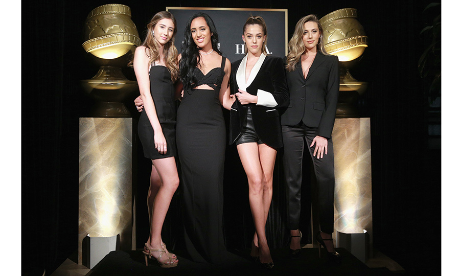 Last year's Miss Golden Globes – Sylvester Stallone's daughters Scarlet, Sistine and Sophia – helped introduce the star offspring who is the Golden Globes Ambassador for 2018: 16-year-old Simone Alexandra Johnson, daughter of Dwayne 'The Rock' Johnson. The foursome took to the stage during a press conference for the Hollywood Foreign Press Association at the Moët & Chandon and InStyle bash at Catch LA on November 15. 