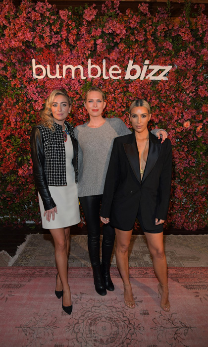 Kim Kardashian and Erin Foster stepped in front of the flower wall at the Bumble Bizz Los Angeles launch alongside company founder Whitney Herd. The dinner took place at Nobu Malibu.