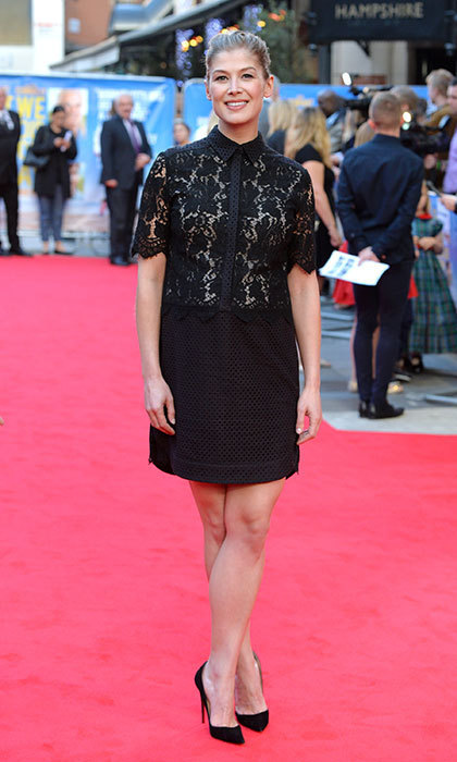 Rocking an all-black lace ensemble at the What We Did On Holiday premiere in London.