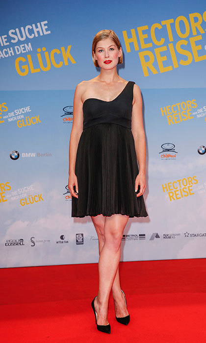 Rocking a classic little black dress at the premiere of Hector and the Search for Happiness in Berlin.