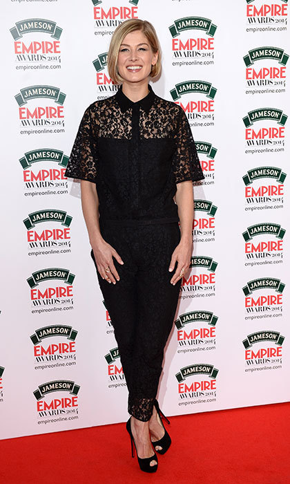 Opting for a black ensemble with lace detailing for the Jameson Empire Film Awards.