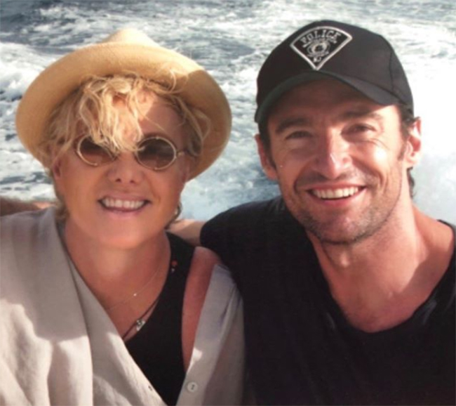 hugh jackman wife deborra on boat
