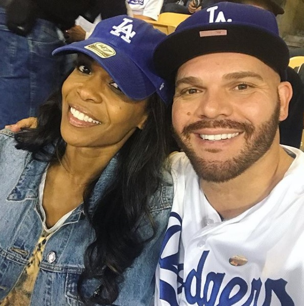 Michelle-Williams-Chad-Johnson-Dodgers-game