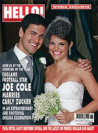 joe cole, wedding, carly zucker, hello, world exclusive, magazine, interview, pictures, john terry, kara tointon, celebrities