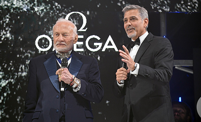 george-clooney-buzz-aldrin-omega-party-stage