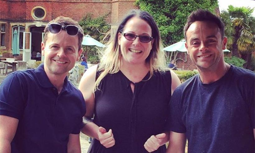 Ant and Dec with fan Christin