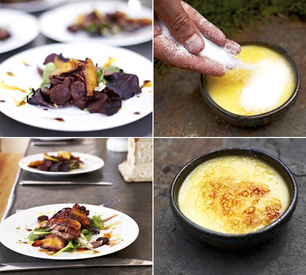 Warm Pigeon Salad and Lemon Posset Brulee