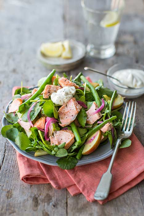 Hot-smoked-salmon-and-watercress-salad-with-apples,-green-beans-and-creme-fraiche