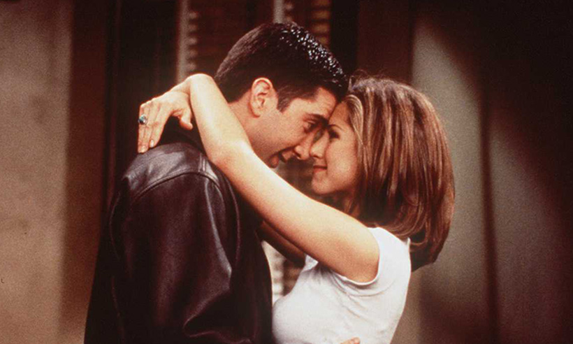 Ross and Rachel hugging in Friends