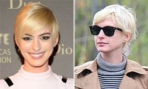 Anne Hathaway Experiments With New Bleached Blonde Hair