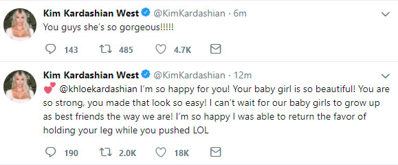 Kim Kardashian says Khloes daughter is gorgeous
