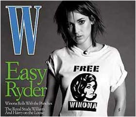 Still on bail Winona Ryder models 'Free Winona' T-Shirt on the cover of W magazine