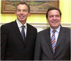 Gerhard Schroder meets with Tony Blair