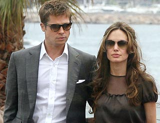 Brad and Angelina jet into Cannes