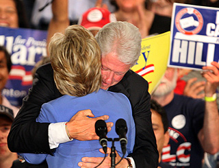 A celebratory hug for Hillary in Indianapolis