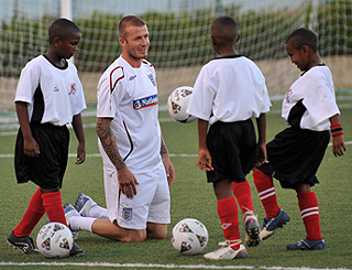 David Beckham trains the young stars of tomorrow