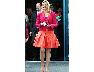 Maxima of Netherlands is a class act in pink and tangerine