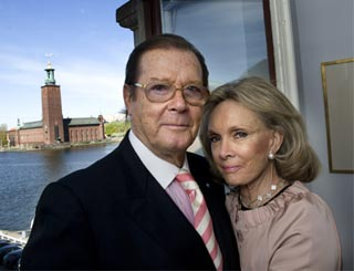 Roger Moore in Stockholm for Swedish launch of his book