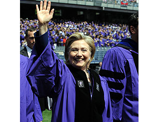 'You've helped achieve a better world' Hillary told by NYU