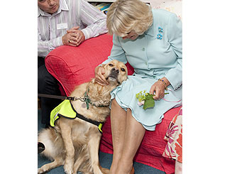 Camilla charms poorly children and their canine helpers