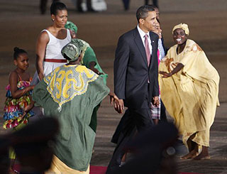 Slave history lesson and dance mark Obamas' trip to Ghana