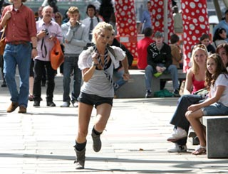 Sarah Harding makes a dash for it on London's South Bank
