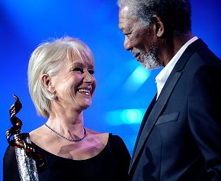 Morgan Freeman hands Helen Mirren career award
