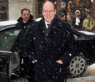 Prince Albert braves a blizzard in San Marino
