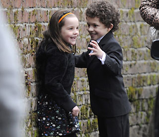'Corrie' kids take time out during Blanche Hunt's funeral