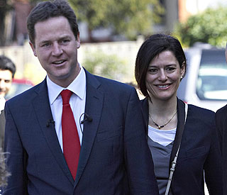 Nick Clegg's wife fractures elbow in shopping fall