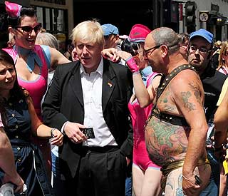 Boris Johnson meets nude revellers at Gay Pride
