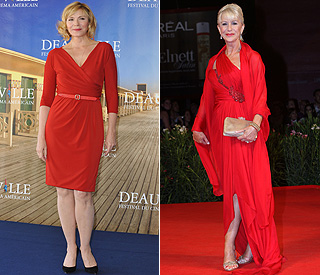 The ladies in red: Kim and Helen knock 'em dead