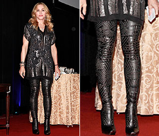 Bold boots means the thighs the limit for Madonna