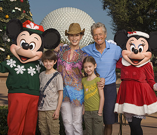 Glowing and happy: Michael Douglas on family hols