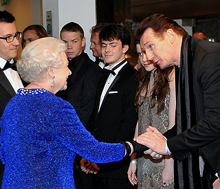 Back on the cine circuit, Liam Neeson meets Queen