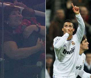 Cristiano Ronaldo scores a goal for his little one