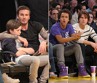 Fathers' day out for Tom and David at Lakers' game