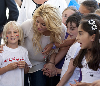 Shakira and her beau promote children's rights in Israel