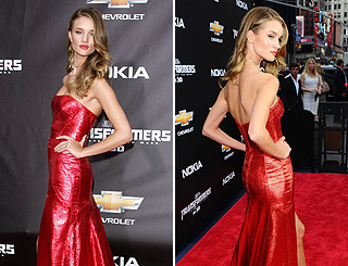 Rosie Huntington-Whiteley sizzles in red