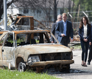 Caring William and Kate visit fire-ravaged town