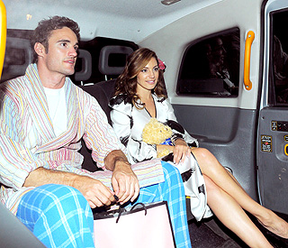 Kelly Brook and Thom dress down for PJ party