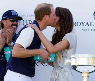 Victorious Prince William rewarded with kiss from Kate