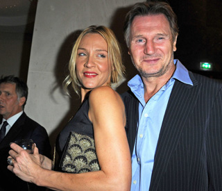 Liam Neeson still happy with attractive blonde girlfriend